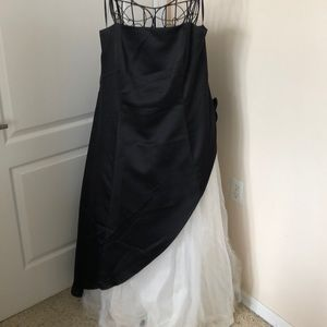 Betsy & Adam Black & White Formal Gown 16W